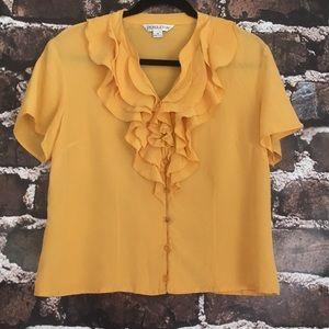 Pendleton silk ruffle front blouse top yellow 14